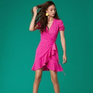 Diane Von Furstenberg DVF West Ruffle Wrap Dress